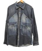 DSQUARED2(ディースクエアード)の古着「BIGポケットデニムシャツ」|ブルー