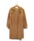 UNIVERVAL MUSE(ユニバーバル ミューズ)の古着「リボンデザインノーカラーコート」|キャメル