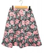 M'S GRACY(エムズグレイシ)の古着「バラ柄ジャガードスカート」 ブラック×ピンク