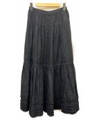 PINK HOUSE(ピンクハウス)の古着「フリルスカート」|ブラック
