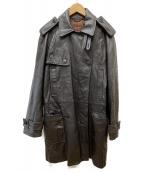 Calvin Klein(カルバンクライン)の古着「レザートレンチコート」|ブラウン
