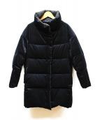 DES PRES(デプレ)の古着「ブライトベルベットダウンコート」|ネイビー×ブラック