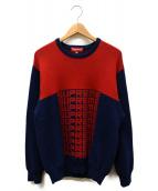 Supreme(シュプリーム)の古着「Logo Repeat Sweater」|レッド×ネイビー