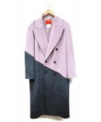 MAX&Co.(マックスアンドコ)の古着「ウールアルパカブロックコート」|ピンク