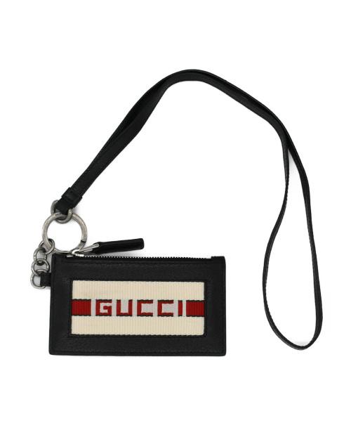 GUCCI(グッチ)GUCCI (グッチ) ストライプレザ-カードケース ブラックの古着・服飾アイテム