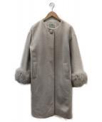 GRACE CONTINENTAL(グレースコンチネンタル)の古着「フォックスファーカフスコート」|ベージュ