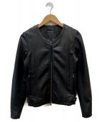 URBAN RESEARCH(アーバンリサーチ)の古着「ノーカラーラムレザージャケット」 ブラック