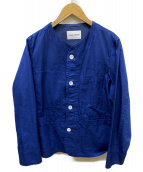 Vincent et Mireille(ヴァンソンエミレイユ)の古着「コットンギャバジンノーカラーカバーオールジャケット」|ブルー