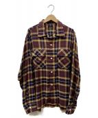 Needles(ニードルス)の古着「Cut-Off Bottom Classic Shirt」|ネイビー×ブラウン