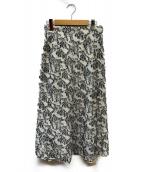 FRAY ID(フレイアイディー)の古着「麻混ジャガードスカート」|ホワイト