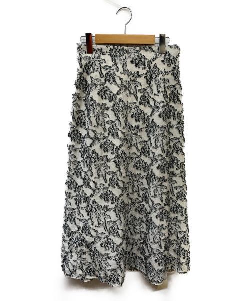 FRAY ID(フレイアイディー)FRAY ID (フレイアイディー) 麻混ジャガードスカート ホワイト サイズ:SIZE 1の古着・服飾アイテム