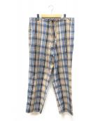 KAPTAIN SUNSHINE(キャプテン サンシャイン)の古着「チェックアスレチックワイドパンツ」|ベージュ×ブルー