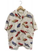 PAPAS(パパス)の古着「クラシックカー柄アロハシャツ」|ベージュ