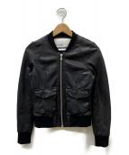 DOMA(ドマ)の古着「ラムレザーボンバーブルゾン」|ブラック