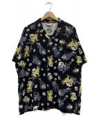 STAR OF HOLLYWOOD(スターオブハリウッド)の古着「THE DEVIL SKULL GIRLS アロハシャツ」|ブラック