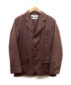 COMME des GARCONS SHIRT(コムデギャルソンシャツ)の古着「ストライプ3Bジャケット」|ワインレッド