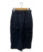 ADORE(アドーア)の古着「麻レーヨンストレッチスカート」|ネイビー