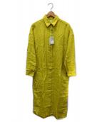 Finamore(フィナモレ)の古着「リネンシャツワンピース」|イエロー