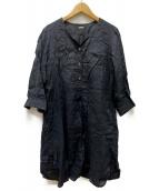 MARGARET HOWELL(マーガレットハウエル)の古着「リネンブラウスワンピース」|ブラック