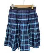 MARGARET HOWELL(マーガレットハウエル)の古着「チェックプリーツスカート」 ブルー