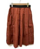 MARGARET HOWELL(マーガレットハウエル)の古着「シルク混ロングスカート」|レッド