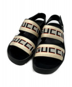 GUCCI(グッチ)の古着「ストライプストラップサンダル」|ブラック×ホワイト