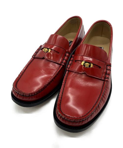 VERSACE(ヴェルサーチ)VERSACE (ヴェルサーチ) VERSACE WITH LOVE loafer レッド サイズ:SIZE 40の古着・服飾アイテム