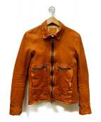 ISAMU KATAYAMA BACKLASH(イサムカタヤマ バックラッシュ)の古着「ジャパンダブルショルダー製品染め襟付きレザージャケット」|ベージュ