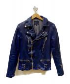ISAMU KATAYAMA BACKLASH(イサムカタヤマ バックラッシュ)の古着「ジャパンホース製品染めダブルライダース」|ブルー