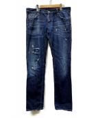DSQUARED2(ディースクエアード)の古着「クラッシュ加工デニムジーンズ」|インディゴ