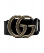 GUCCI(グッチ)の古着「DOLLAR PIGPRINT Leather Belt」|ブラック