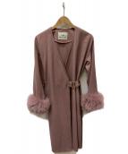 GRACE CONTINENTAL(グレースコンチネンタル)の古着「ラップ型ガウンコート」|ピンク