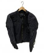 KADOYA(カドヤ)の古着「デニムライダースジャケット」 ブラック