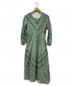 sara mallika(サラマリカ)の古着「GAUZE LACE DRESS」|グリーン