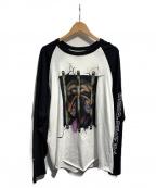 SUPREME()の古着「Dog Raglan L/S Top」|ホワイト×ブラック