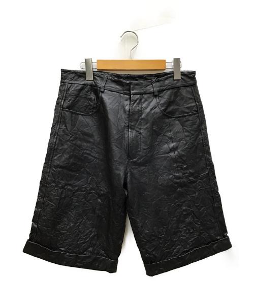 MCQ(マックキュー)MCQ (マッキュー) レザーハーフパンツ ブラック サイズ:46の古着・服飾アイテム