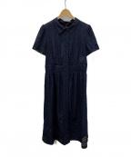 AMACA(アマカ)の古着「コンビネーションレースドレス」 ネイビー