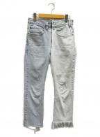 77circa(ナナナナサーカ)の古着「LEVISリメイクフリンジデニムパンツ」 スカイブルー×インディゴ