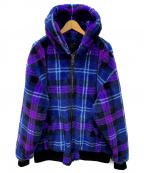 DANKE SCHON(ダンケ シェーン)の古着「フーデッドビッグボアジャケット」|パープル×ブルー