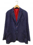 ()の古着「リネン混ストライプテーラードジャケット」|ネイビー×レッド