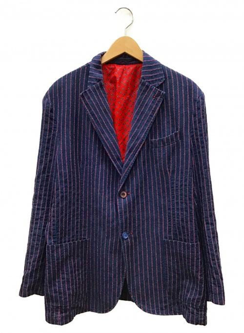 Bob(ボブ)Bob (ボブ) リネン混ストライプテーラードジャケット ネイビー×レッド サイズ:54の古着・服飾アイテム