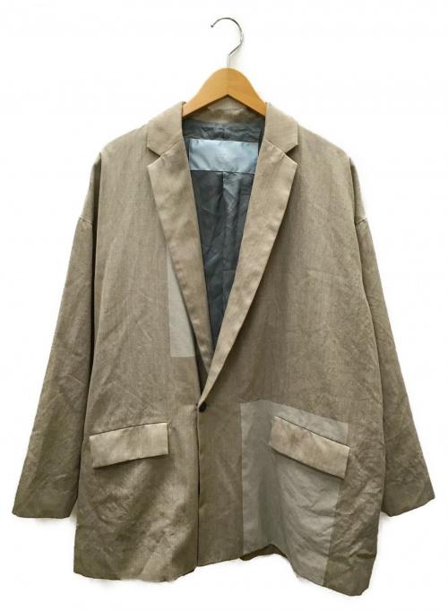 Dulcamara(ドゥルカマラ)Dulcamara (ドゥルカマラ) よそいきパネルジャケット ベージュ×グレー サイズ:1の古着・服飾アイテム