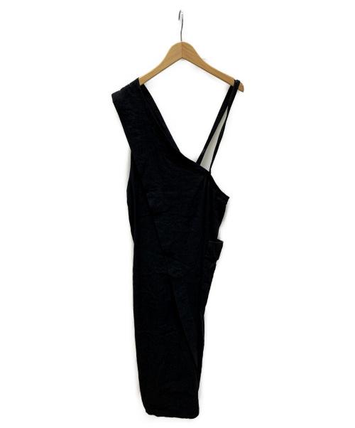 BRISEMY(ブライズミー)BRISEMY (ブライズミー) ワンショルダーリネンワンピース ブラック サイズ:表記なしの古着・服飾アイテム