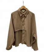 jieda(ジエダ)の古着「クロップドビッグトレンチシャツ」|ベージュ