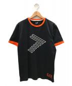 ()の古着「トリムロゴTシャツ」|ブラック×オレンジ