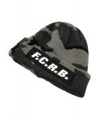 F.C.R.B.(エフシーアールビー)の古着「カモ柄ロゴニット帽」|グレー×ブラック