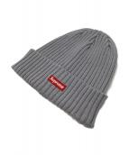 SUPREME(シュプリーム)の古着「ボックスロゴニット帽」|グレー×レッド