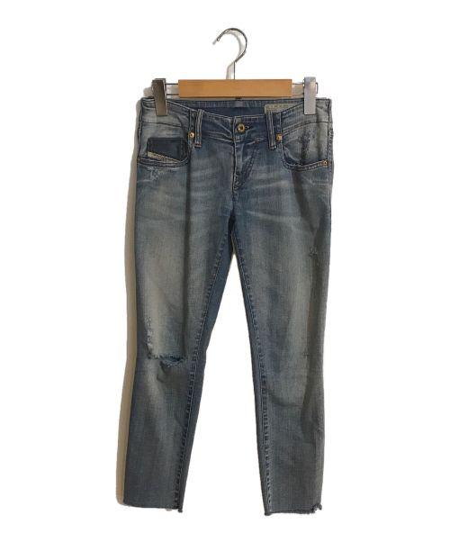 DIESEL(ディーゼル)DIESEL (ディーゼル) カットオフジーンズ スカイブルー サイズ:24の古着・服飾アイテム