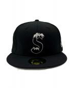 Supreme×NEW(シュプリーム×ニューエラ)の古着「コラボSロゴキャップ」|ブラック×ホワイト