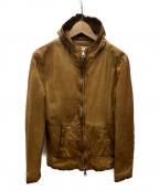 GIORGIO BRATO(ジョルジオ ブラッド)の古着「ダメージ加工ラムレザーフーデットジャケット」 ブラウン